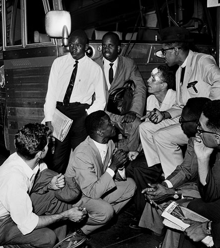 Rev. Shuttlesworth and Freedom Riders at the Greyhound Bus Station in Birmingham