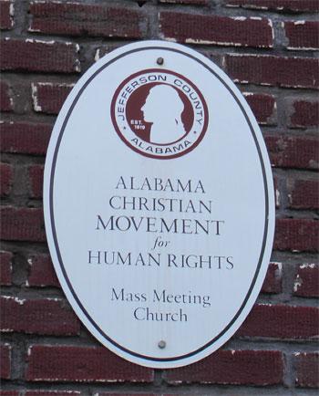 Alabama Christian Movement for Human Rights mass meeting sign